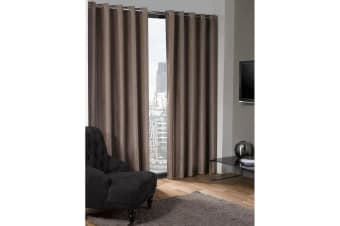 Logan Blackout Plain Thermal Curtains With Eyelets (Taupe) (46in x 72in (117cm x 183cm))