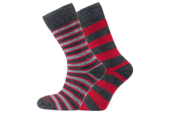 Heritage Unisex Merino Outdoor Cushioned Socks (Pack Of 2) (Red/Charcoal (Stripes and Hoops)) (8-12 UK)