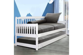 Superb Single Wooden Timber Sofa Trundle Bed Frame Mattress Daybed Kids Bralicious Painted Fabric Chair Ideas Braliciousco