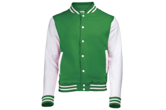 Awdis Unisex Varsity Jacket (Kelly Green / White)