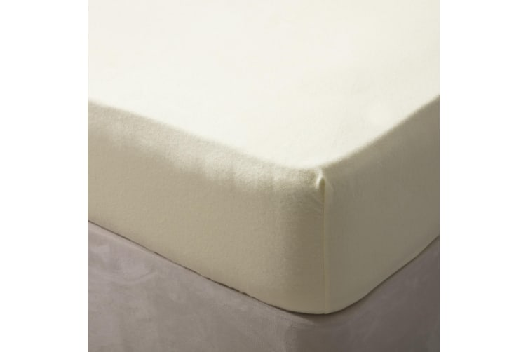 Belledorm Jersey Cotton Fitted Sheet (Ivory) (Single)