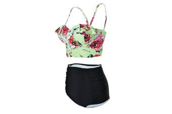 Vintage High Waist Floral Women's Bikini Set Strappy Push Up Bathing Suit XL