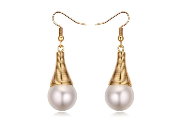 Cleopatra Earring w/Swarovski Crystals & Pearls-Gold/Pearl White