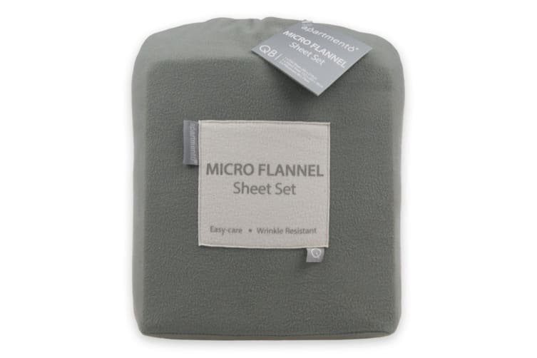Apartmento Micro Flannel Sheet Set (Grey, Queen)