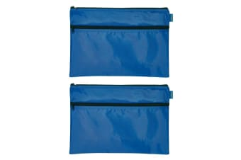 2PK Celco Nylon 2 Zipper Pencil Case Large School/Office Storage Organiser Blue
