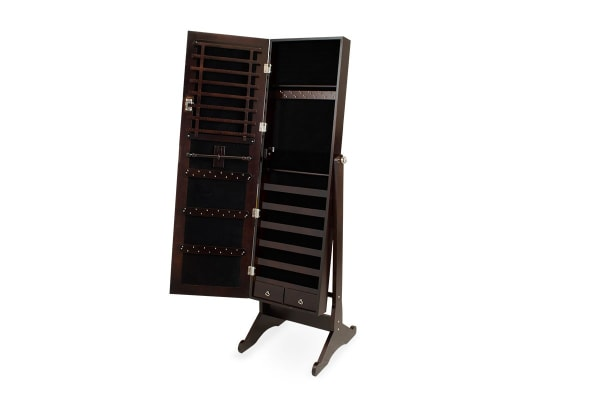 Ovela Mirrored Full Length Jewellery & Accessories Cabinet (Dark Brown)