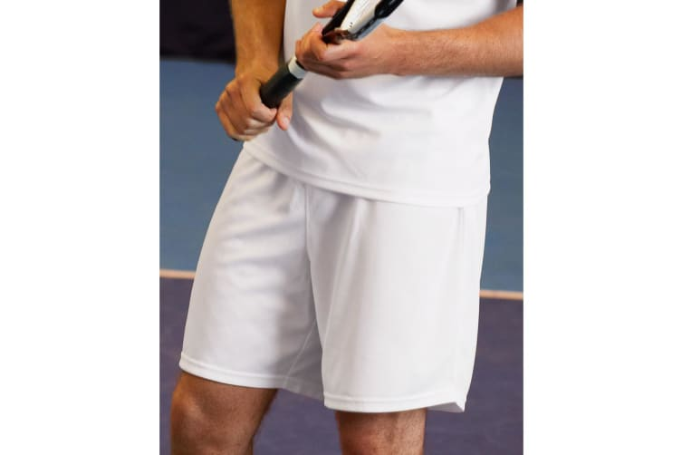 Fruit Of The Loom Mens Moisture Wicking Sports Performance Shorts (White) (S)