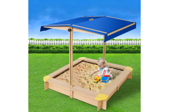 Keezi Sandpit Toy Box Kids Canopy Sand Pit Wooden Outdoor Play Set Large Seat