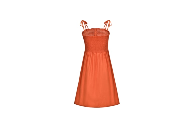 Women'S Casual Summer Dresses Cotton Flattering A-Line Strap Midi Sundress Orange L