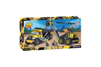 Action Town 500 Piece Construction Dumper and Digger Set