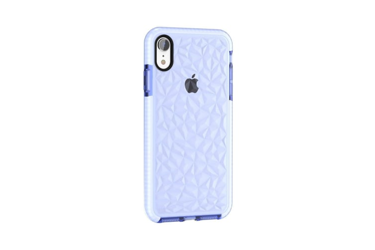 For iPhone XR Case Blue Diamond Texture TPU Back Cover