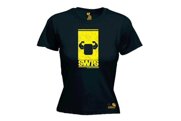 SWPS Gym Bodybuilding Tee - Flexing Arms Design - (Large Black Womens T Shirt)