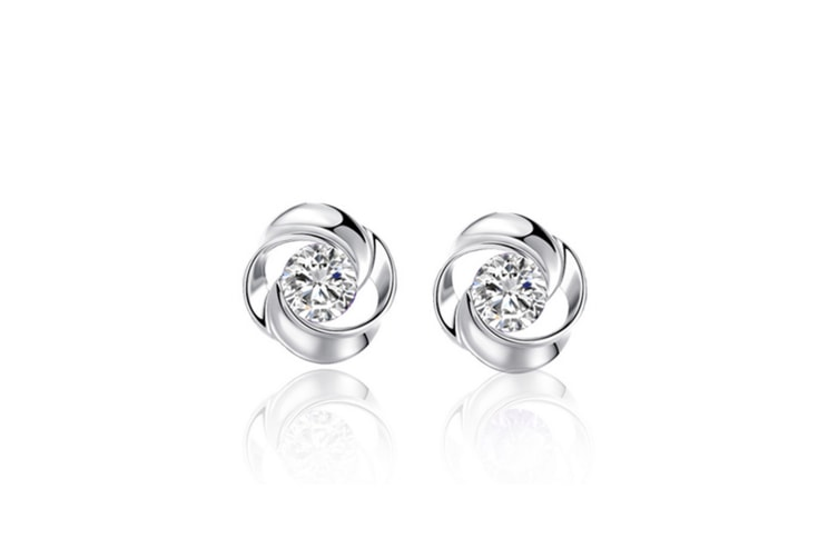 925 Sterling Silver Rose Flower Shaped Stud Earrings With White Cubic Zircon Silver