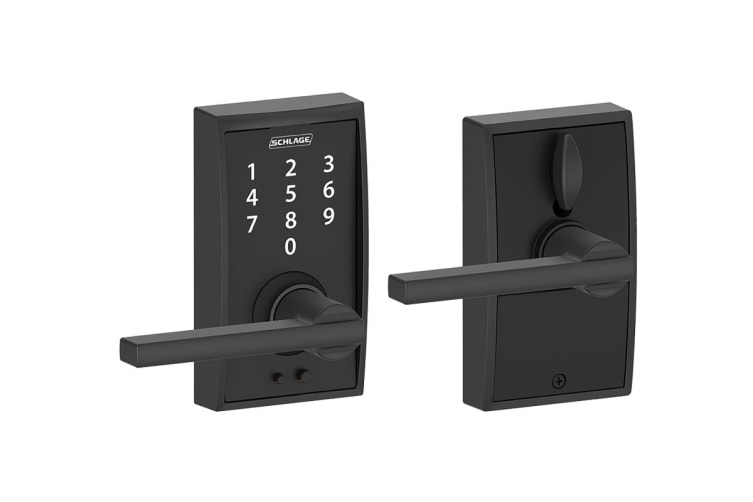 Schlage Touch Keyless Touchscreen Lever with Century Trim and Latitude Lever (Matte Black)