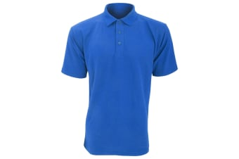 UCC 50/50 Mens Plain Piqué Short Sleeve Polo Shirt (Royal) (L)