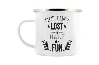 Grindstore Getting Lost Is Half The Fun Enamel Mug (White) (One Size)