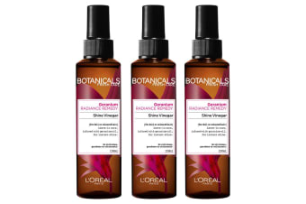 3PK Loreal Paris 150ml Hair Care Botanicals Geranium Oil Reviving Shine Vinegar