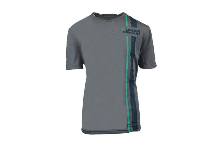 Under Armour Boys' Graphic Mini Logo UA T-Shirt (Steel/Jade, Size M)
