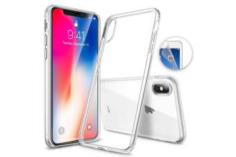 "Apple iPhone XS Max (6.5"") Ultra Slim Premium Crystal Clear TPU Gel Back Case by MEZON – Wireless Charging Compatible – With Screen Protector (iPhone XS Max, Gel)"