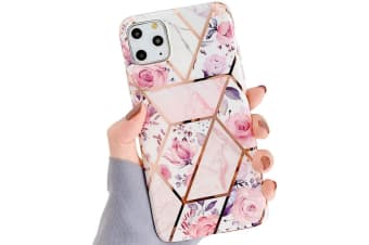 Marble Pattern Soft TPU Case Elegant Stylish Shockproof Silicone Cover for iPhone XS Max-PinkFlower