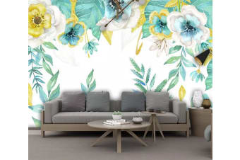 3D Colored Flowers 1437 Wall Murals Woven paper (need glue), XXL 312cm x 219cm (WxH)(123''x87'')