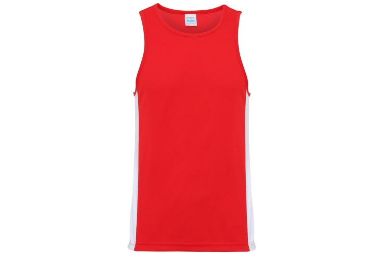 AWDis Just Cool Mens Contrast Panel Sports Vest Top (Fire Red/Arctic White) (XL)