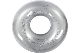 Metallic Glitter Swim Ring Silver