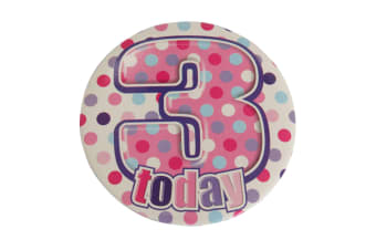 Simon Elvin Childrens/Girls I Am 3 Today Giant Badge (White/Pink/Purple)