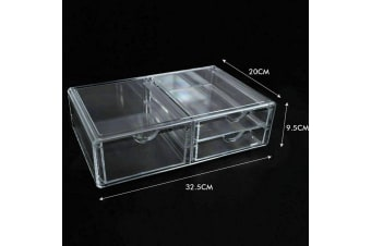 Cosmetic Organizer Clear Acrylic Jewellery Box Makeup Storage Case Drawers  -  E