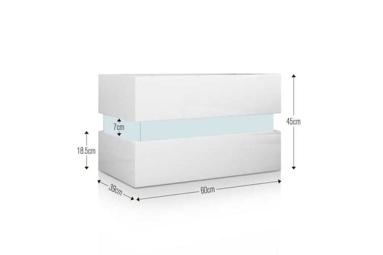 Bedside Table 2 Drawer Side Nightstand High Gloss Modern Bedroom Cabinet   White