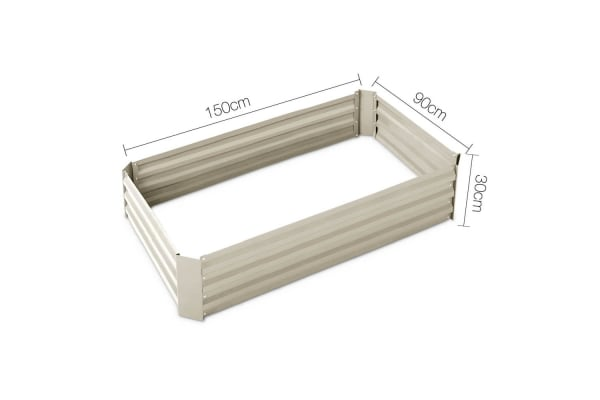 Galvanised Raised Garden Bed 150 x 90 x 30cm (Cream)