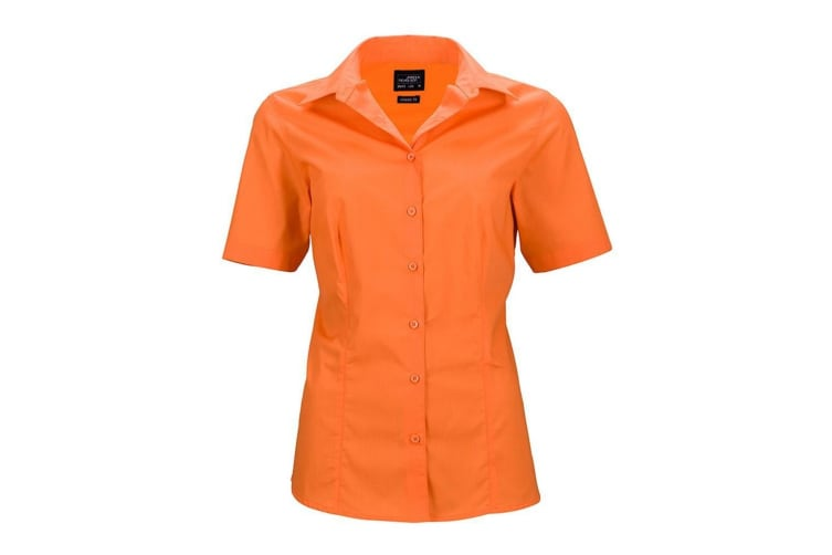 James and Nicholson Womens/Ladies Shortsleeve Business Shirt (Orange) (S)