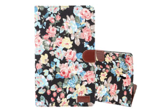 For Samsung Galaxy Tab S4 10.5i Case Black Flower Pattern PU Leather Folio Cover