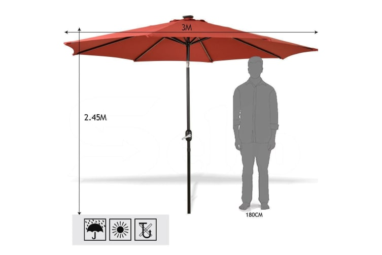 Outdoor Patio Aluminum Tiltable Solar Umbrella Beach Garden Home With LED Option  -  24 ledQuarry red9FT