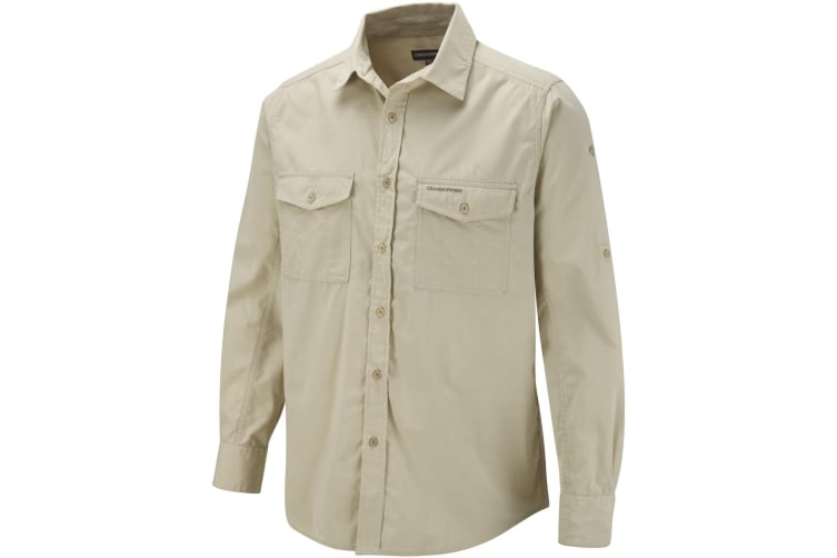 Craghoppers Mens Kiwi Long Sleeve Casual Shirt (Oatmeal) (L)