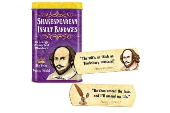 15pc Archie McPhee Shakespearean Insults/Dramatic Assorted Bandages/Plasters