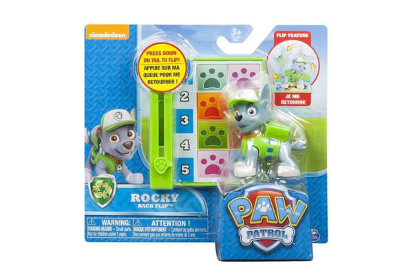 Paw Patrol Action Pack Pup and Badge - Backflip Rocky