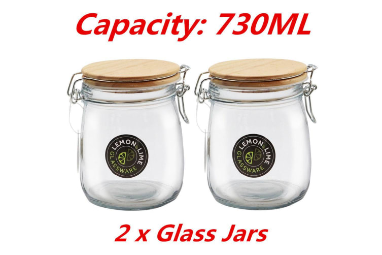 2 x Round Food Storage Jar 730ML Glass Jars Canister Container Wooden Clip Lock Lid