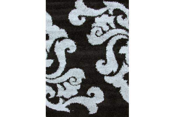 Damask Pattern Shag Rug Black Grey 150x80cm