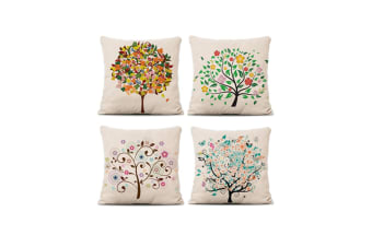 4Pcs Colorful Pillow Covers Decorative Linen Square Throw Pillow Covers Yellow 4Pcs