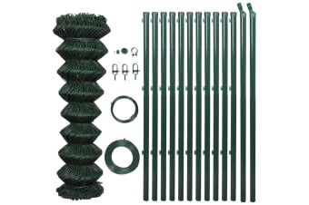 vidaXL Chain Link Fence with Posts Galvanised Steel 1.25x25 m Green