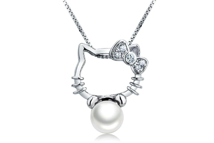 .925 Kitty Plays The Ball Pendant-White/Pearl