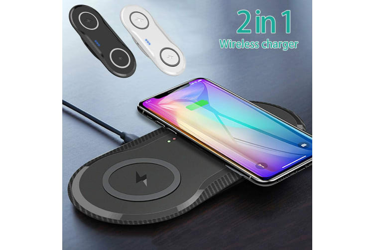 Dual Wireless Charger Phone Fast Charging Pad Mat For iPhone Samsung Galaxy AU For Double 5W-Black
