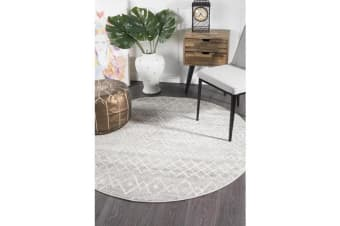Amelia Grey & Bone Ivory Scandi Durable Round Rug 150x150cm