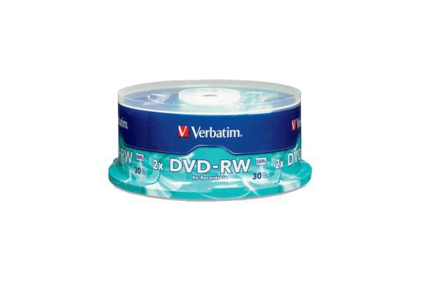 VERBATIM DVD-RW 30pk Spindle - 4.7GB 2x