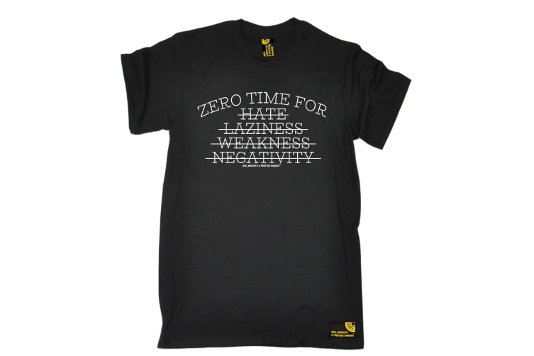 SWPS Gym Bodybuilding Tee - Zero Time For Hate Laziness - (4X-Large Black Mens T Shirt)