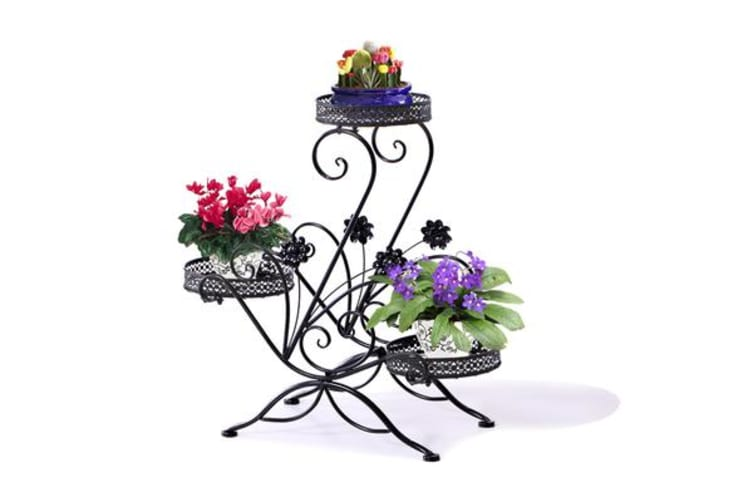 Metal Outdoor Indoor Pot Plant Stand Garden Decor Flower Rack BLACK (UM1175)