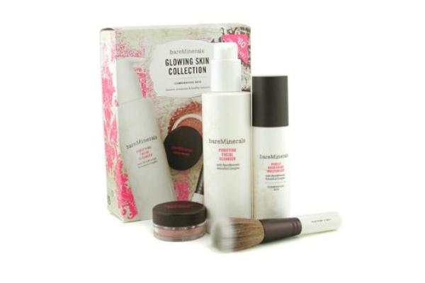 Bare Escentuals BareMinerals Glowing Skin Collection: Cleanser + Moisturizer + Face Color + Brush (4pcs)