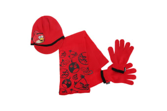 Angry Birds Childrens Boys Knitted Winter Hat  Gloves And Scarf Set (Red) (3-5 Years)