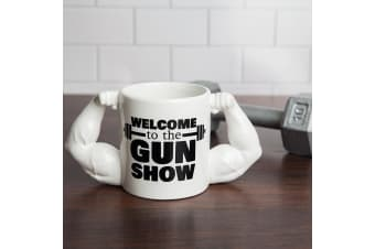 Welcome to the Gun Show Novelty Mug | A Mug With Muscles That Flex!